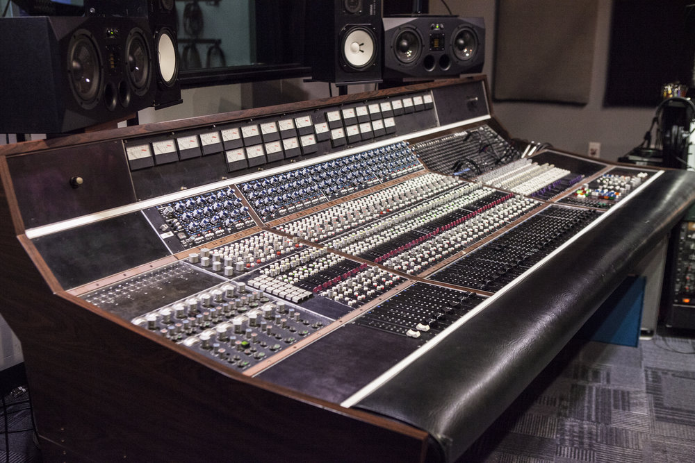 Legendary 1973 Aengus/API 30 Channel, 8 buss recording console installed at Rock Garden Studio.