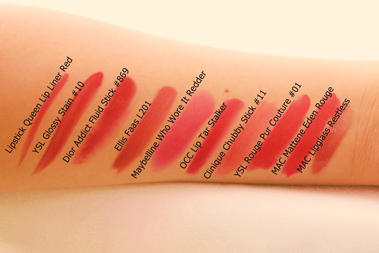Swatches in comparison to some other red (or nominally red) lip colours: Lipstick Queen Lip Liner Red // YSL Glossy Stain #10 // Dior Addict Fluid Stick #869 Vie d'Enfer // Ellis Faas Milky Lips L201 // Maybelline Color Whisper Who Wore It Redder // OCC Lip Tar Stalker // Clinique Chubby Stick #11 Two Ton Tomato // YSL Rouge Pur Couture #01 Le Rouge // MAC Mattene Eden Rouge // MAC Lipglass Restless