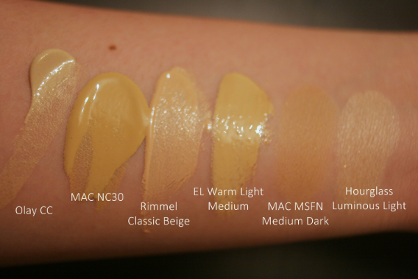 The swatches: Olay Pore Minimizer CC Cream in Light to Medium // MAC Studio Fix in NC30 // Rimmel Wake Me Up Concealer in Classic Beige // Estee Lauder Double Wear Concealer in Warm Light Medium // MAC Mineralize Skinfinish Natural in Medium Dark // Hourglass Ambient Lighting Powder in Luminous Light.