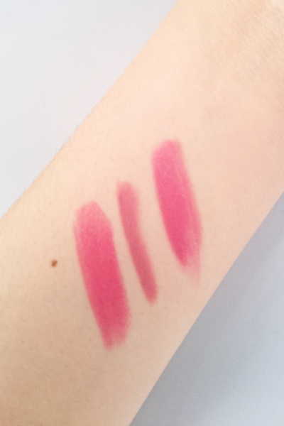 L-R: Matte Revolution Lipstick in Amazing Grace, Lip Cheat in Pillowtalk, the two combined.