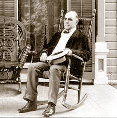 William McKinley awaits the world from his rocking chair.