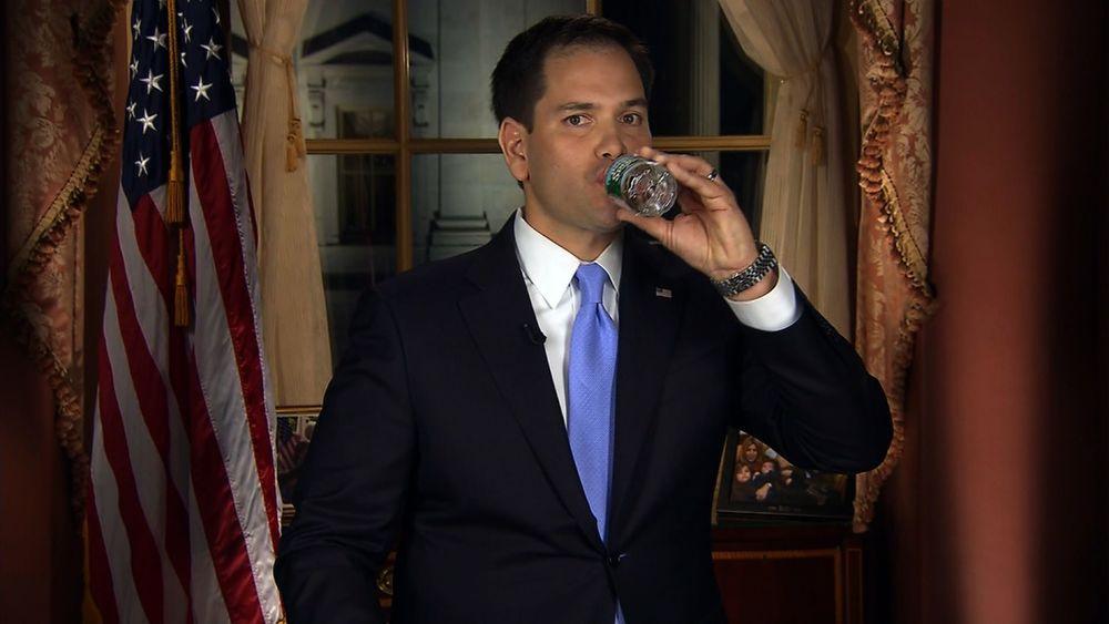 Sen. Marco Rubio sips water during his 2013 State of the Union response.
