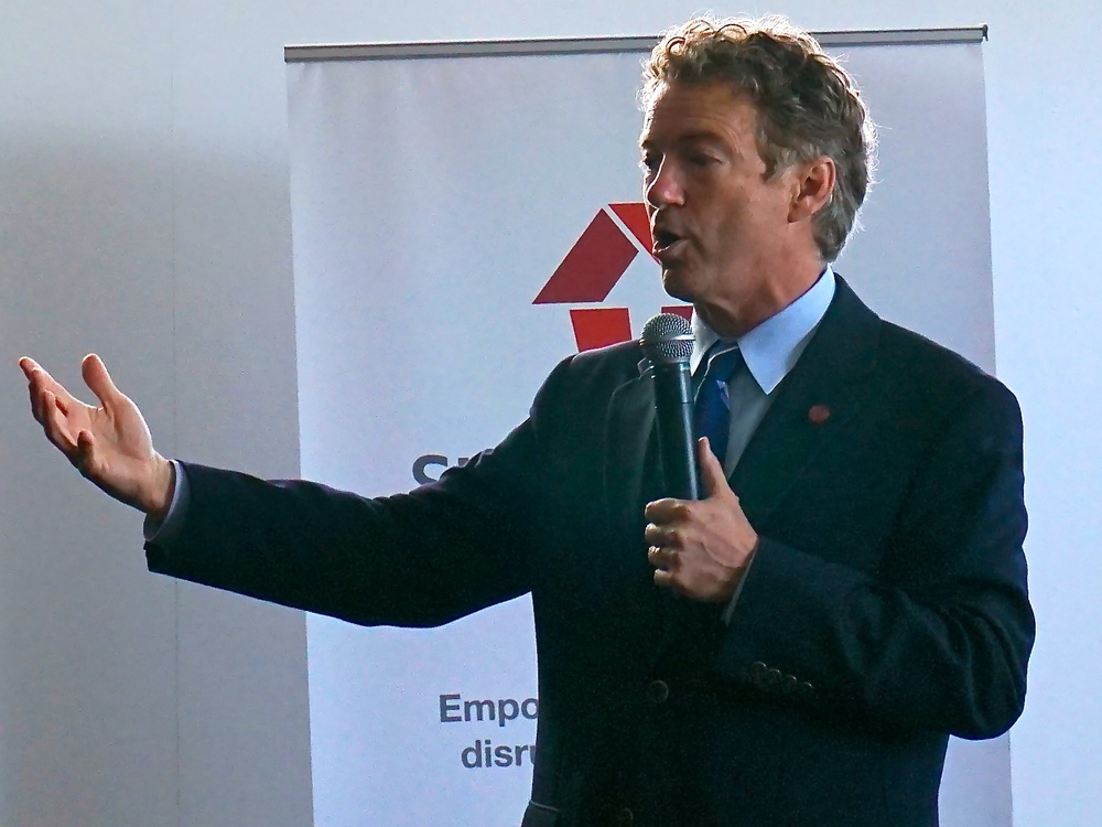Senator Rand Paul (R-KY) speaks at the Startup House in San Francisco, California. Photo/Reed Galen