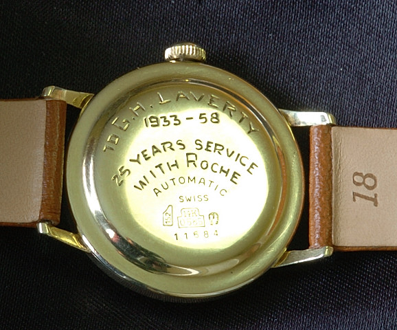A gold watch in commemoration of 25 years of service. Note the years - 1933-1958. Courtesy Vintagewatch.ca