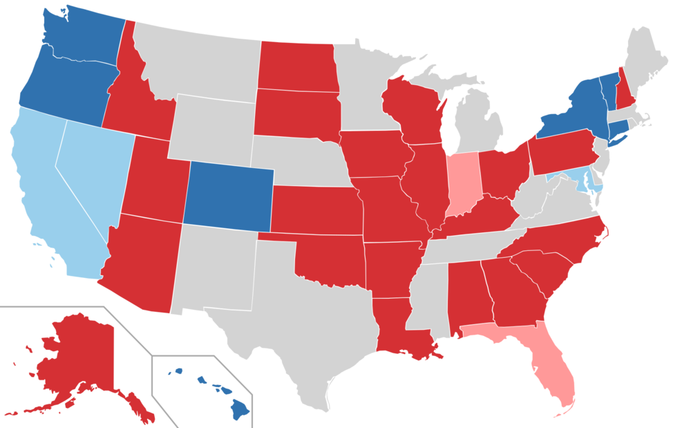 Map of 2016 US Senate Races.