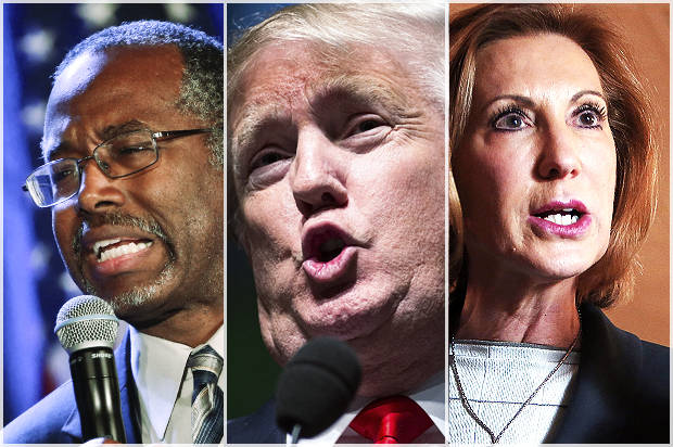 Dr. Ben Carson, Donald Trump and Carly Fiorina are challenging the GOP Establishment.