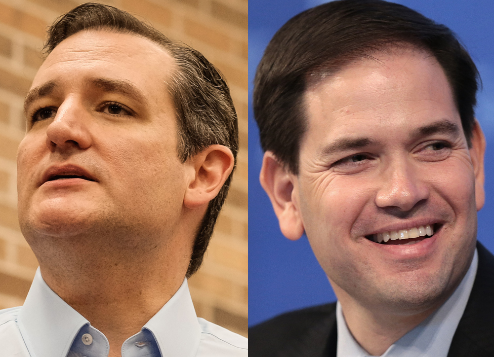 Sen. Ted Cruz (R-Texas) (left) and Sen. Marco Rubio (R-Florida) (right) Courtesy USA Today