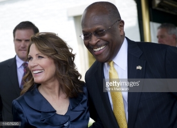 Former Rep. Michele Bachmann (left) and Herman Cain (right). Courtesy Getty Images.