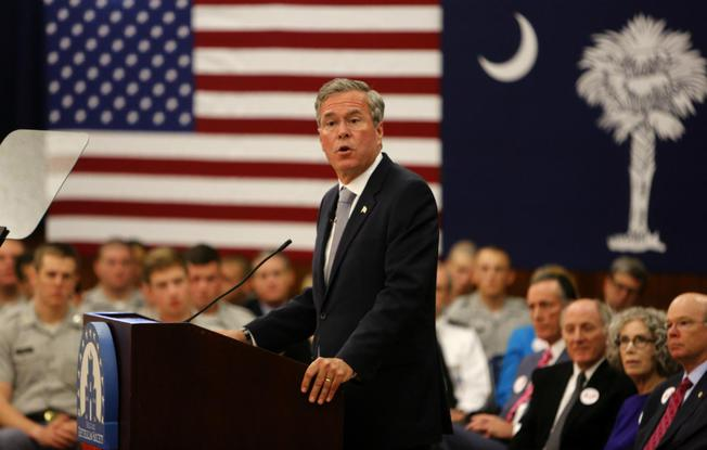 Former Florida Governor Jeb Bush Gives Remarks about Rebuilding the American Military and Defeating ISIS at the Citadel in Charleston, South Carolina. Courtesy, US News & World Report