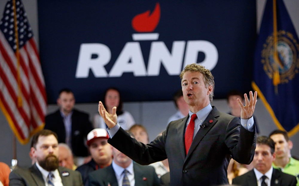 Sen. Rand Paul (R-KY) speaks in San Francisco, California. Courtesy AP