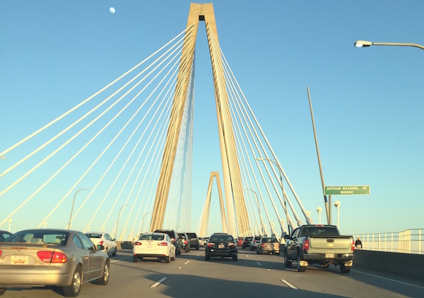 Charleston's iconic Arthur Ravenel bridge. As I was crossing it, I saw Gov. John Kasich walking across the bridge from Downtown to his event in Mt. Pleasant.