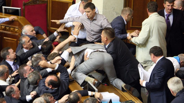 Ukrainian Members of Parliament in a fistfight - 2012.
