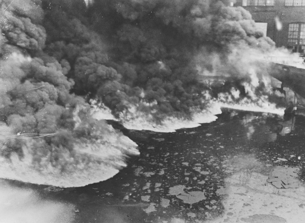 Cleveland's Cuyahoga River catches fire, 1969. Also future image of #GOP Convention.