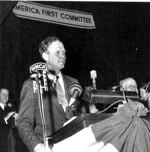 Charles Lindbergh speaks at an America First Committee meeting.