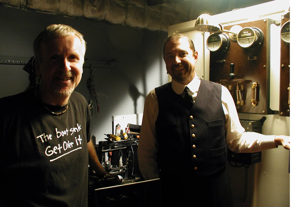 Parks Stephenson alongside James Cameron, on the set of  Ghosts of the Abyss .