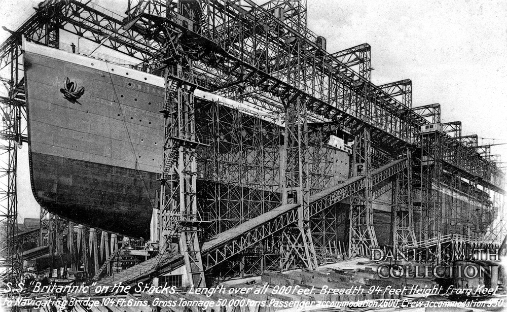 "The ""Arrol Gantry"" at Harland and Wolff, where Titanic was constructed. Here Titanic's sister ship Britannic is being built."
