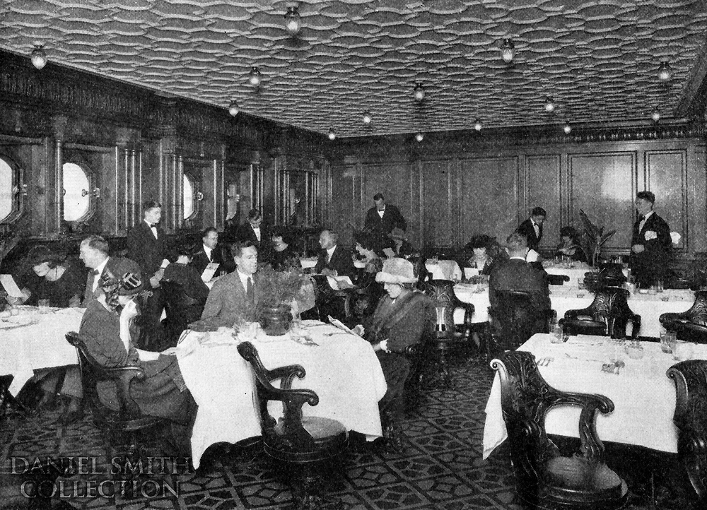 The Second Class Dining Saloon aboard Olympic later in her career. While Titanic did not have private tables like this, second class passengers still traveled in relative comfort.