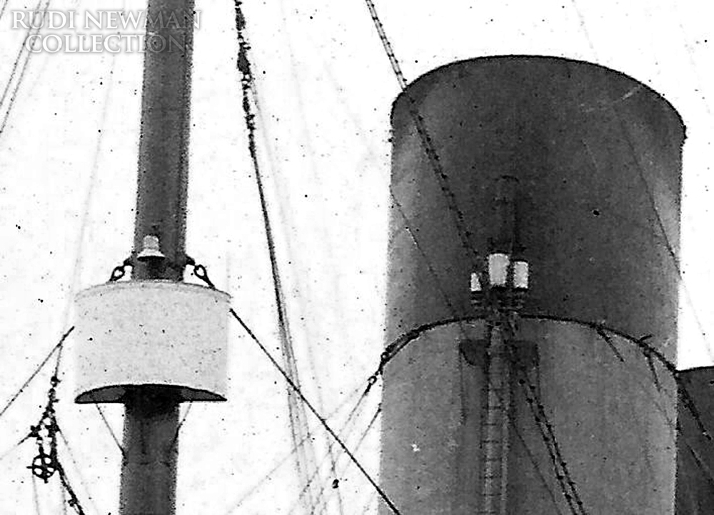 The crow's Nest, left, and a set of whistles, right, on Titanic. Courtesy: Rudi Newman Collection - Click to enlarge
