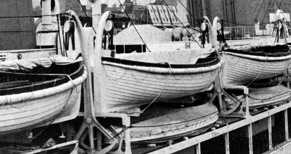 Olympic's lifeboats. As this was after Olympic's post-Titanic-sinking 1913 refit, there are additional lifeboats and davits on the boat deck. Courtesy: Daniel Smith Collection - Click to enlarge