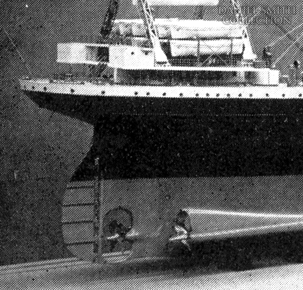 The propeller and rudder setup as seen on a builders' model of Britannic. Courtesy: Daniel Smith Collection - Click to enlarge