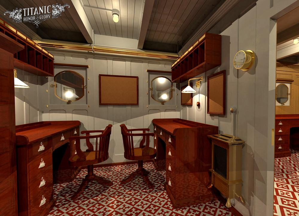 Among the ship's electrical fittings were clocks that could be controlled from near the bridge and electric heaters, seen in this rendering of the Purer's Office. A pneumatic tube system (like those in modern bank drive-ups) was also installed between the Marconi and Enquiry Offices for quick sending of Marconigrams. Click to enlarge