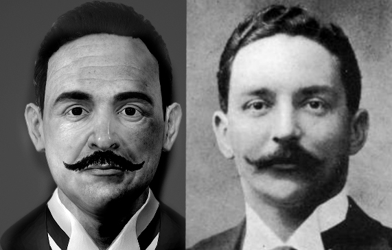 Comparison between our early game model (left) and original photo (right) of J. Bruce Ismay, director of the White Star Line. Character model is continuing to be improved upon.