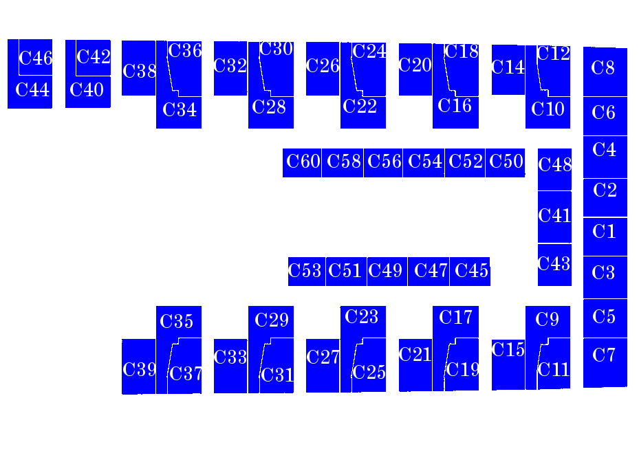 Forward C deck cabins. 56 rooms, 132 berths. (Section full)