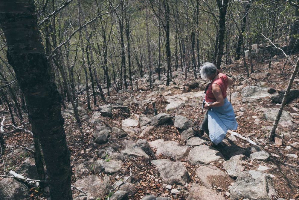 Mom braving the rock slide