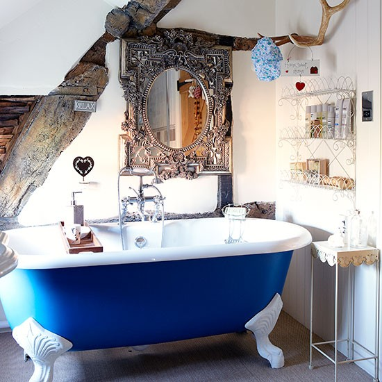 Cobalt Blue And White Roll Top Bathroom Country