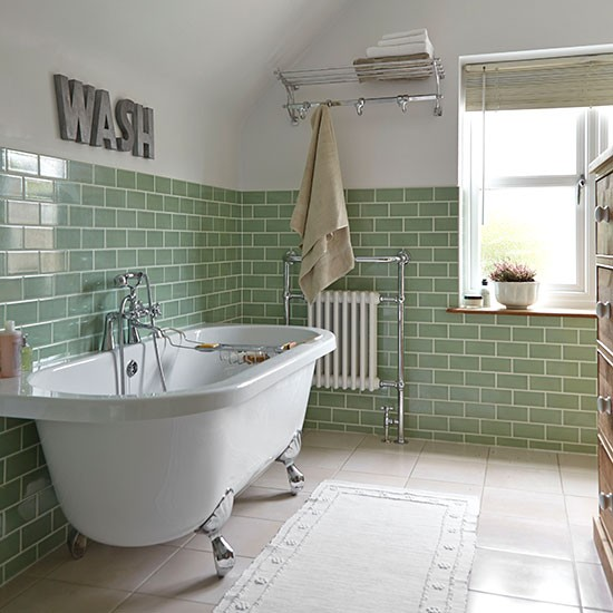 green brick tile and white bathroom ideal home - Bathroom Ideas Metro Tiles