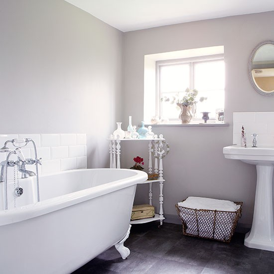 Pale Grey And White Roll Top Bathroom Country