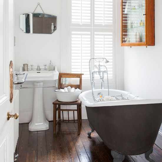 White And Dark Floor Roll Top Bathroom Ideal