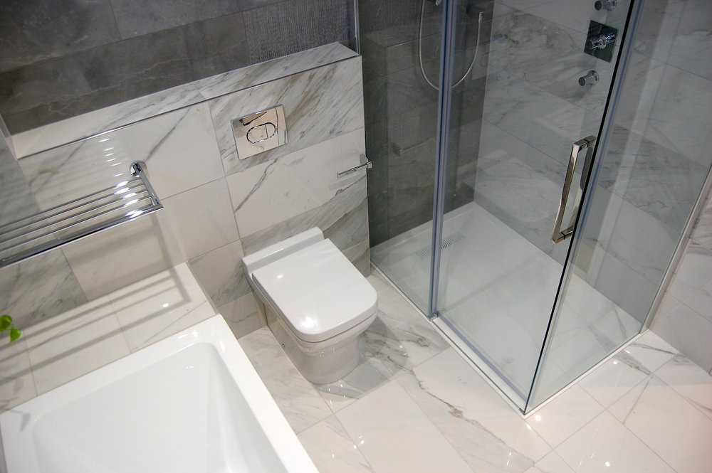 £14,350 - Family Bathroom with separate large shower, all-over tiling, LED feature lighting - minimal build/prep