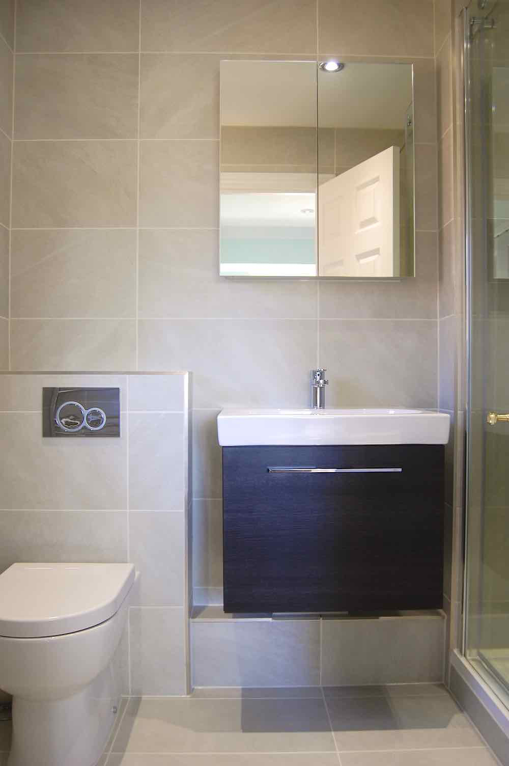 £9,850 - Shower-En-suite - minimal build/prep - Saneux, Crosswater, Flova brands. Porcelain tiles and recess in shower