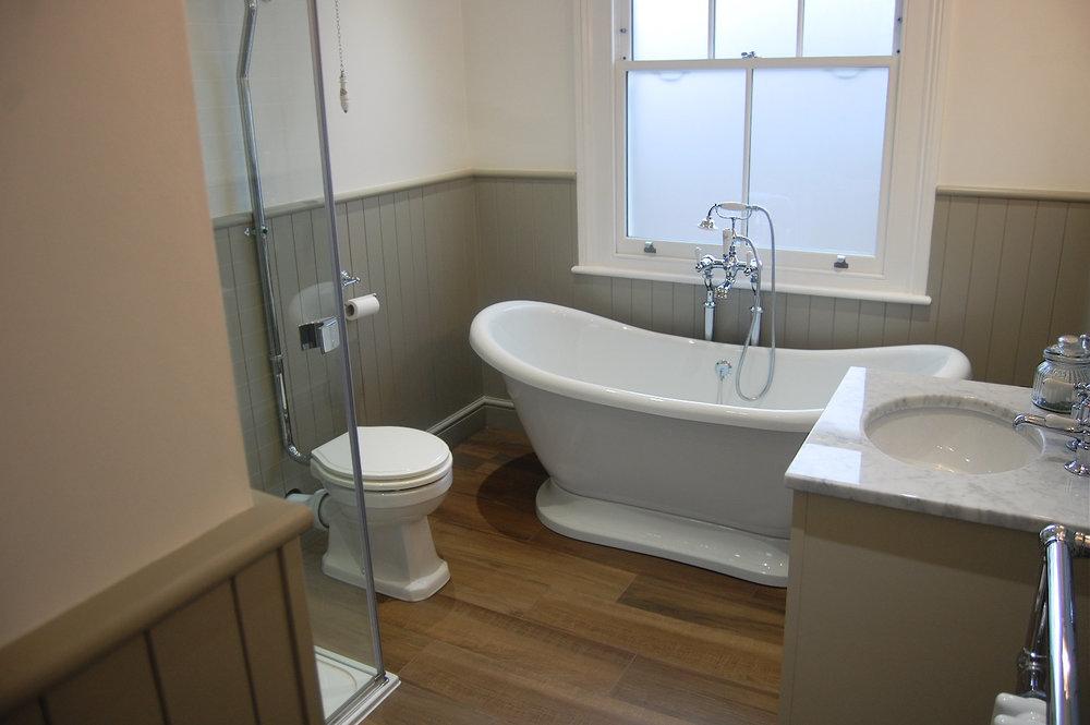 Bathroom in Surbiton Mandarin Stone Crosswater Neptune Wood Panelling Imperial Retreat Bathrooms Design - 15.jpg