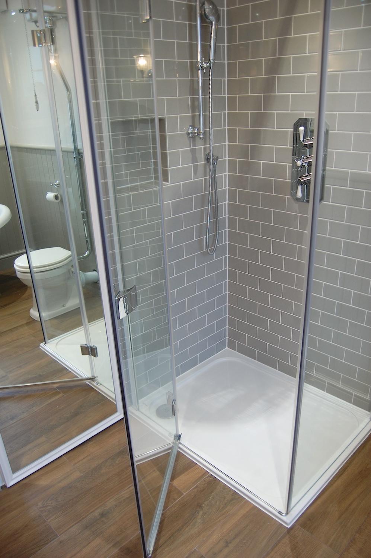 Bathroom in Surbiton Mandarin Stone Crosswater Neptune Wood Panelling Imperial Retreat Bathrooms Design - 9.jpg