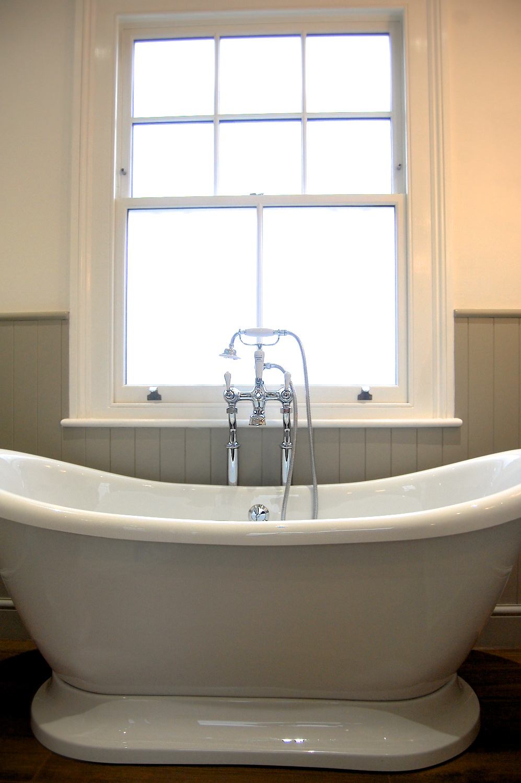 Bathroom in Surbiton Mandarin Stone Crosswater Neptune Wood Panelling Imperial Retreat Bathrooms Design - 6.jpg