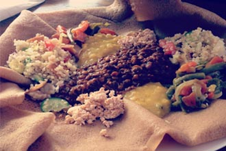 Kaffa's vegetarian Injera and Wat combination, available every Thursday and Friday. Various lentil, black & green beans stews. Quinoa salads with special croutons, Home made cheeses and other delicious preparations are all part of this exciting Kaffa dish.
