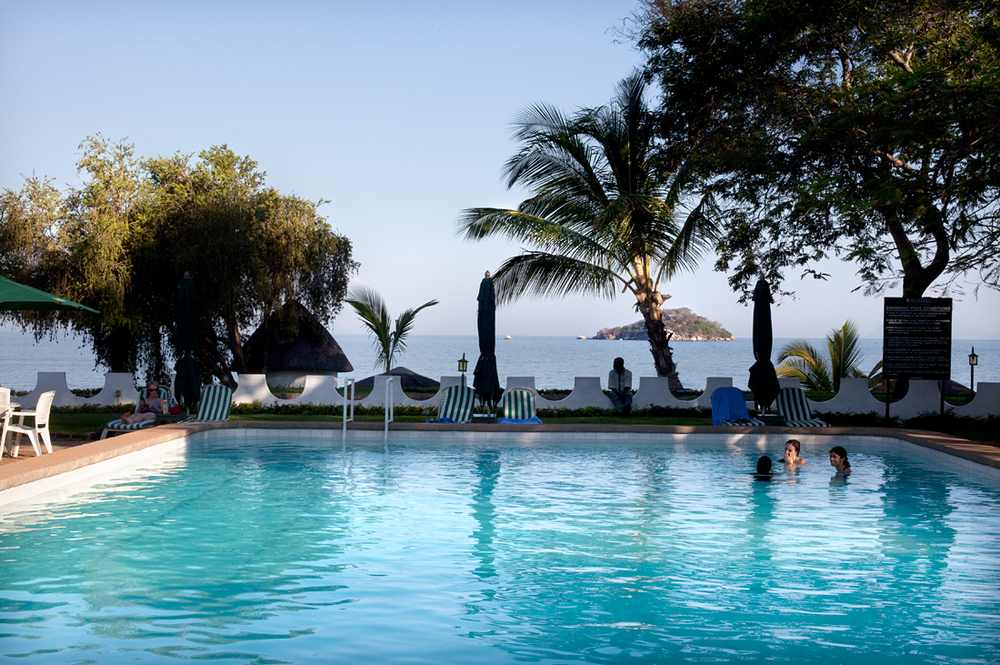Salima, Malawi.  Tourists in a resort at lake Malawi.