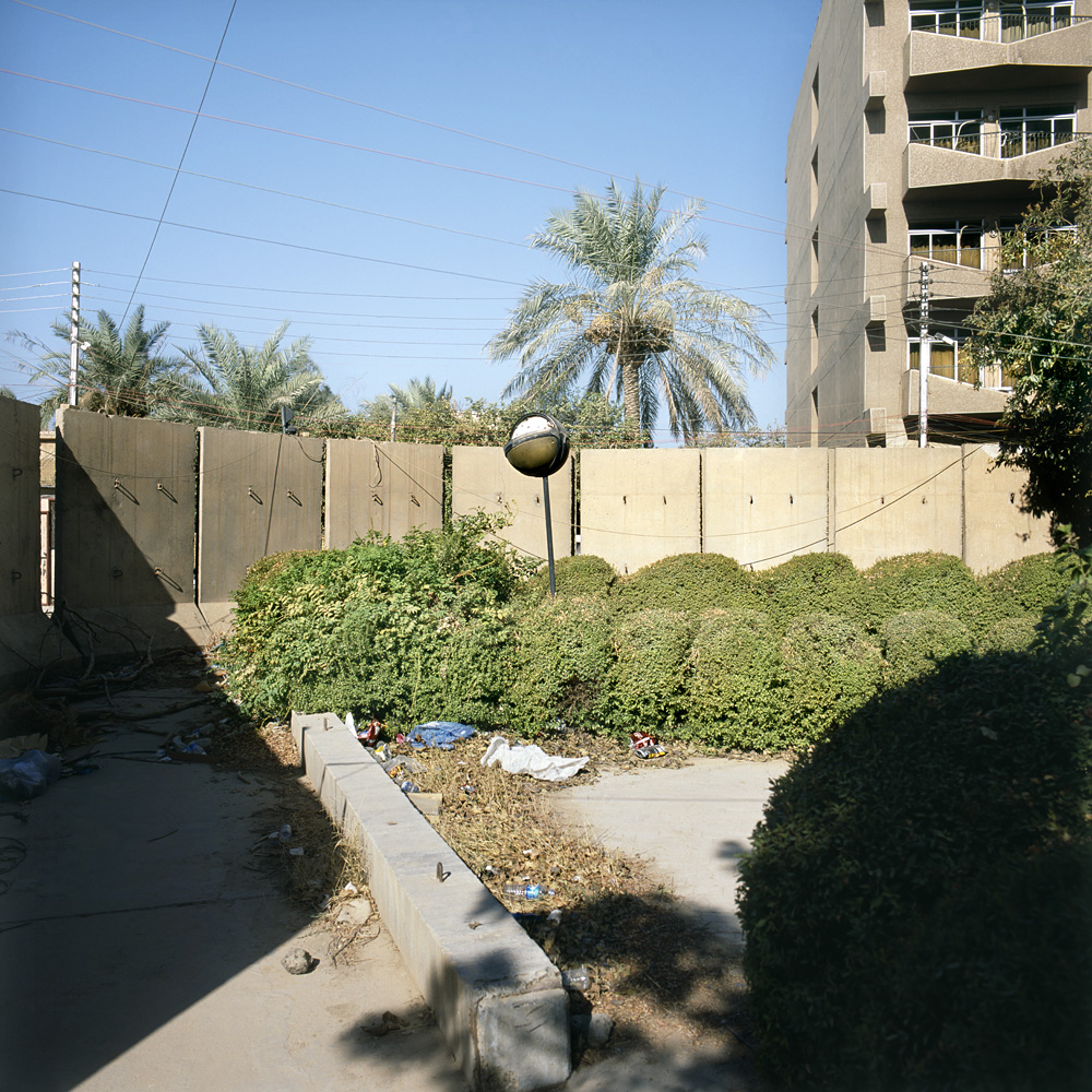 Blast walls in a residential area in Baghdad.