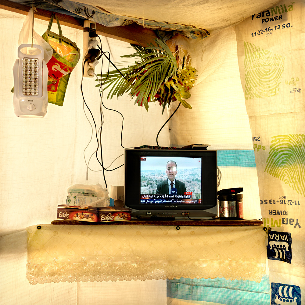 The TV in the tent of Satouf