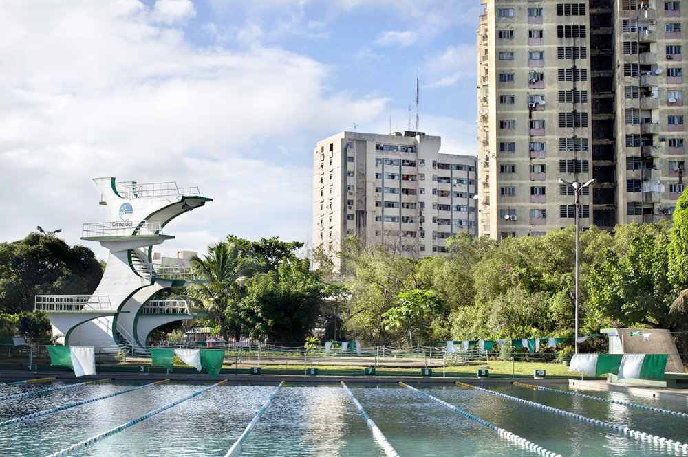 Beira, Mozambique.  Public swimming pool in the middle of the city.