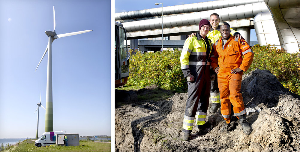 Checking windmills by employees.   Use: Magazine, Intern/Extern use.   Cliënts: Alliander