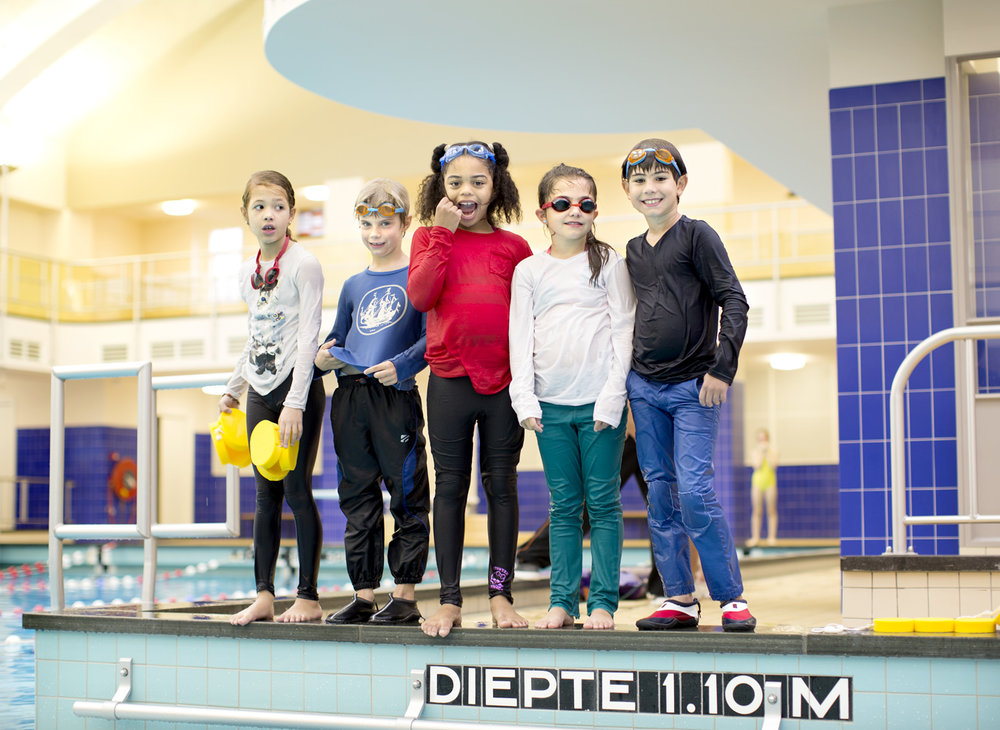Children having swimming lessons.   Use: Advertising   Cliënts: Eneco Energy.