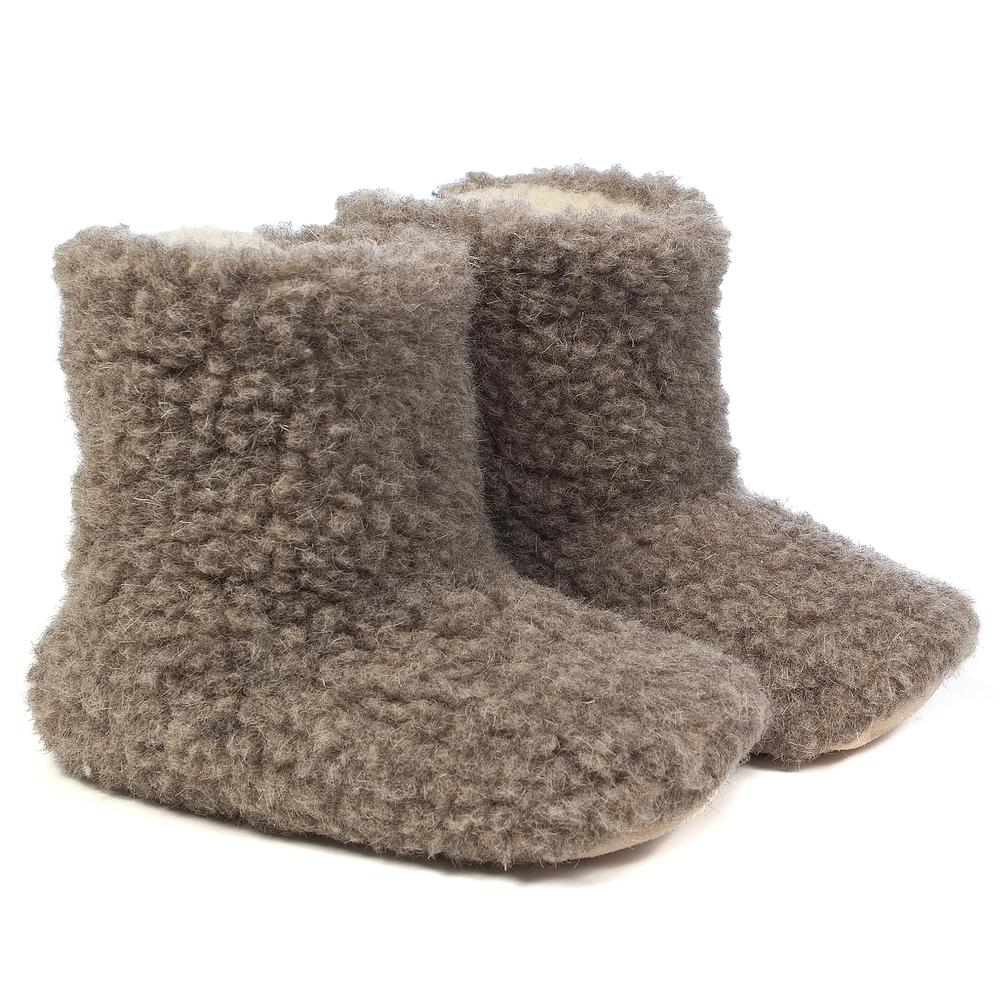 Woolsies Aconca - 100% Natural Wool Slipper Booties - Ladies - Latte Brown