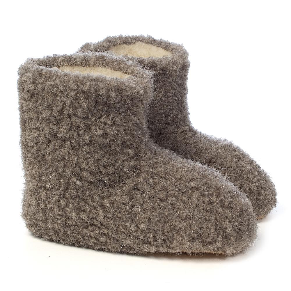 Woolsies Sherpa - 100% Natural Wool Slipper Booties - Unisex KM_5142
