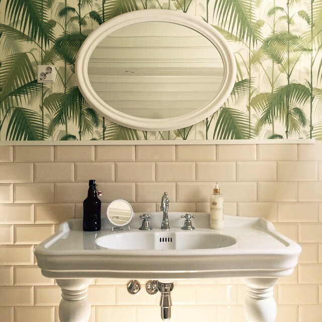Bathroom details. #mansion #coleandson #palmjungle #studiolillehammer #interiordesign #metrotiles
