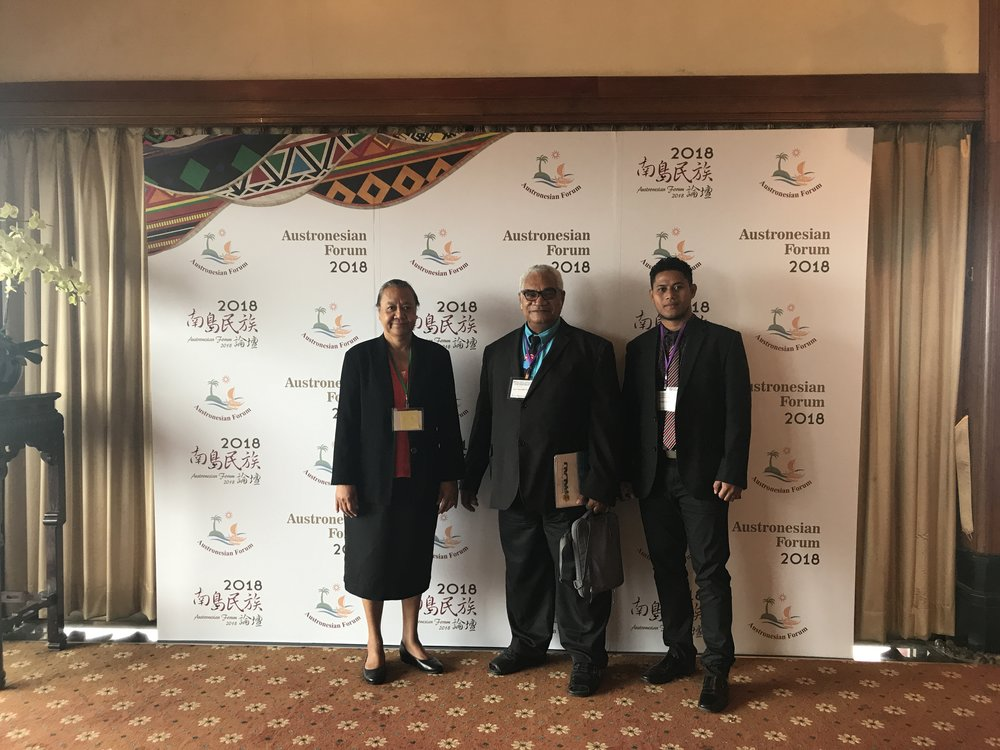 (Left) H.E. Ambassador Limasene Teatu, Hon. Namoliki Sualiki Neemia, Mr. Martini Vailopa, Culture Officer, Ministry of Home Affairs and Rural Development.