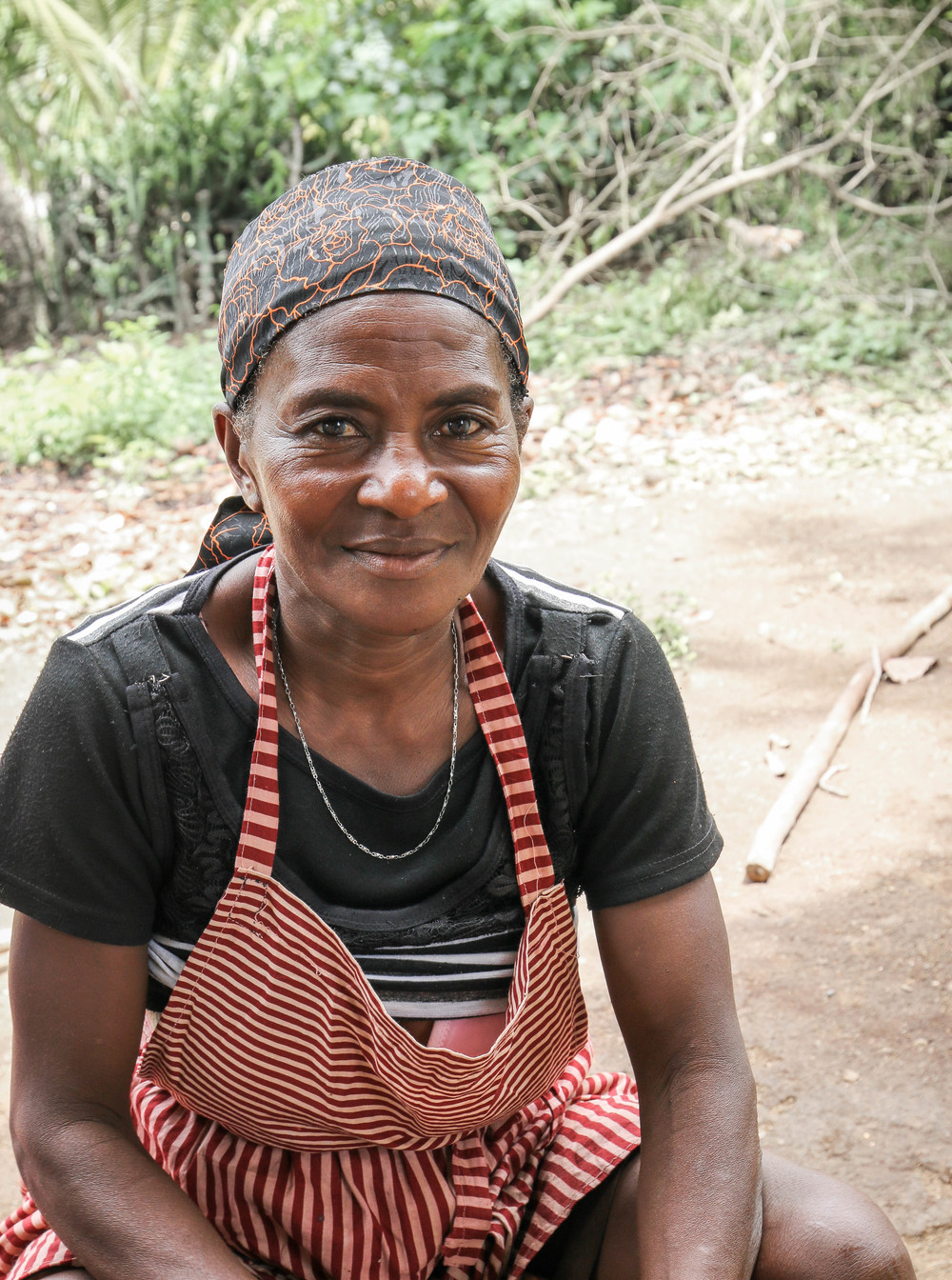 Jean Estanne -- Cooperative member and farmer in Mombin Crochu who helped in the group's cashew processing