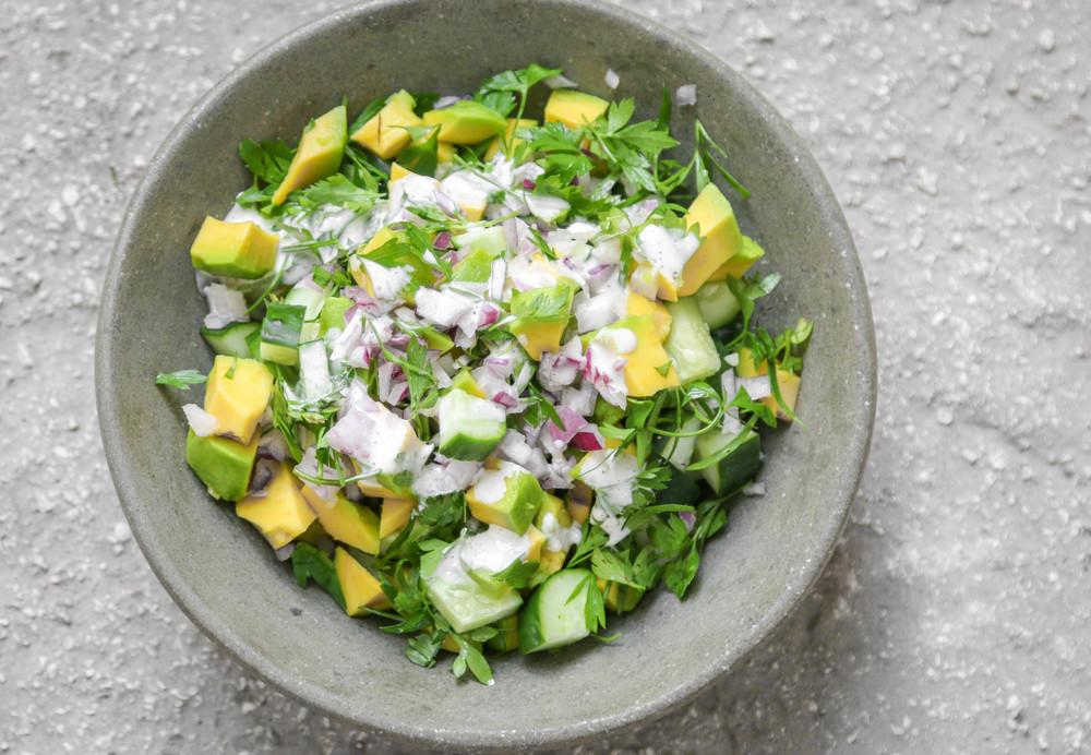 The Hungry Hounds Avocado Cucumber Salad With Yogurt Lime Sauce